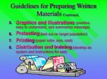 guidelines for preparing written materials continued