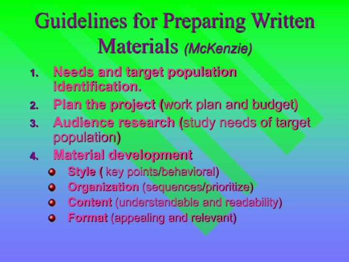 Guidelines for preparing written materials mckenzie