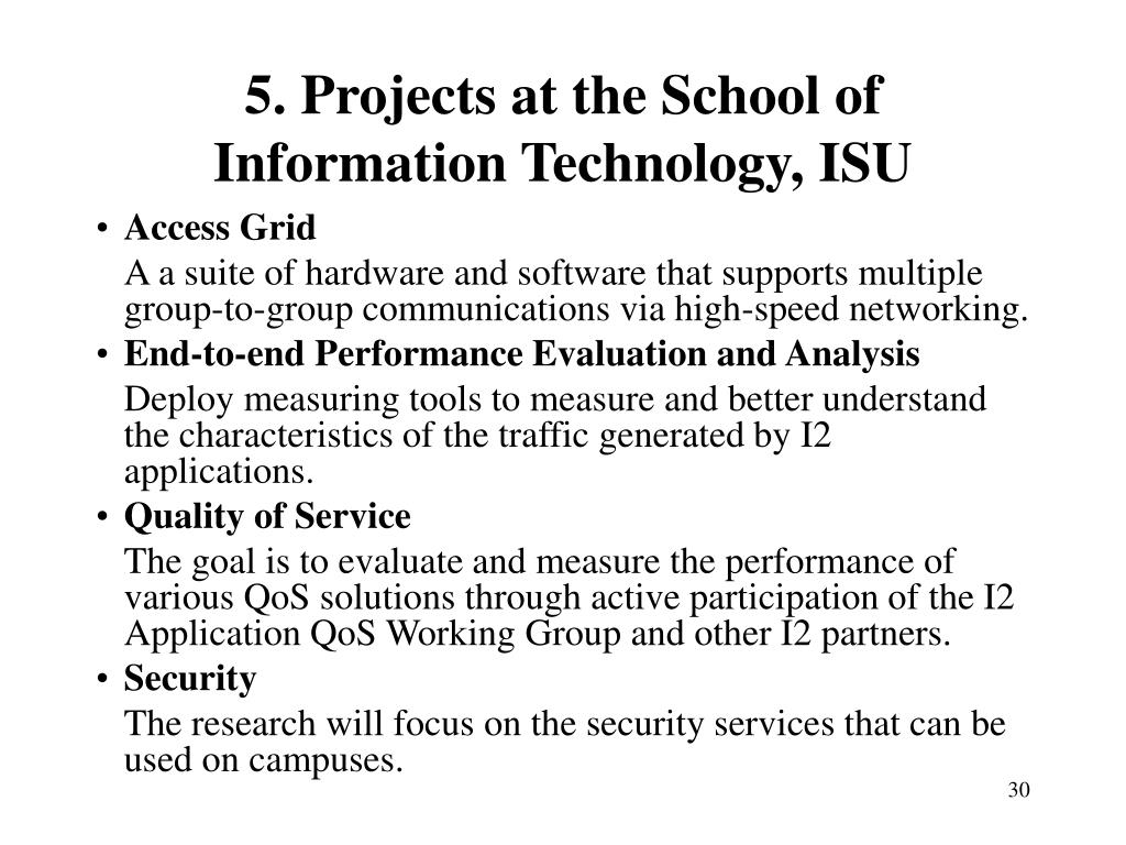 5. Projects at the School of Information Technology, ISU