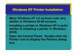 windows nt printer installation