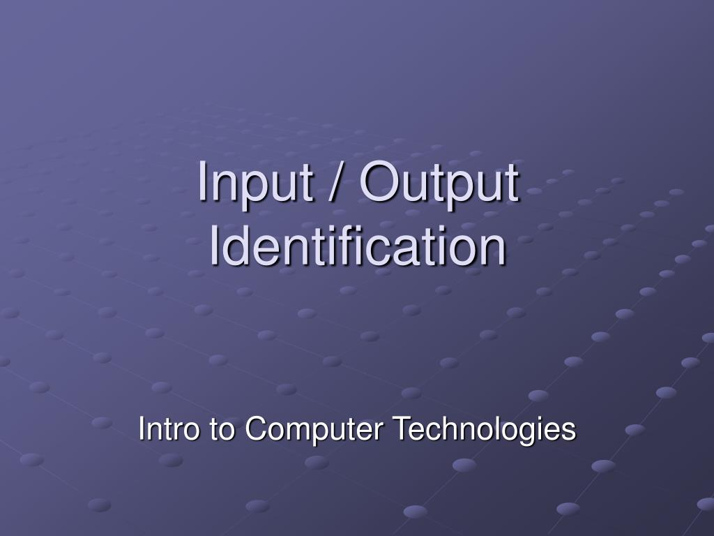 input output identification l.