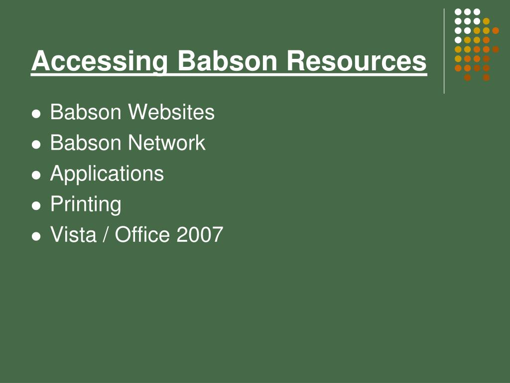 Accessing Babson Resources