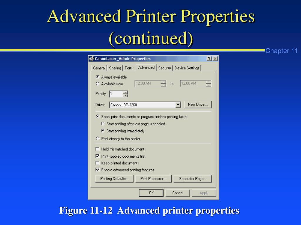 Advanced Printer Properties (continued)