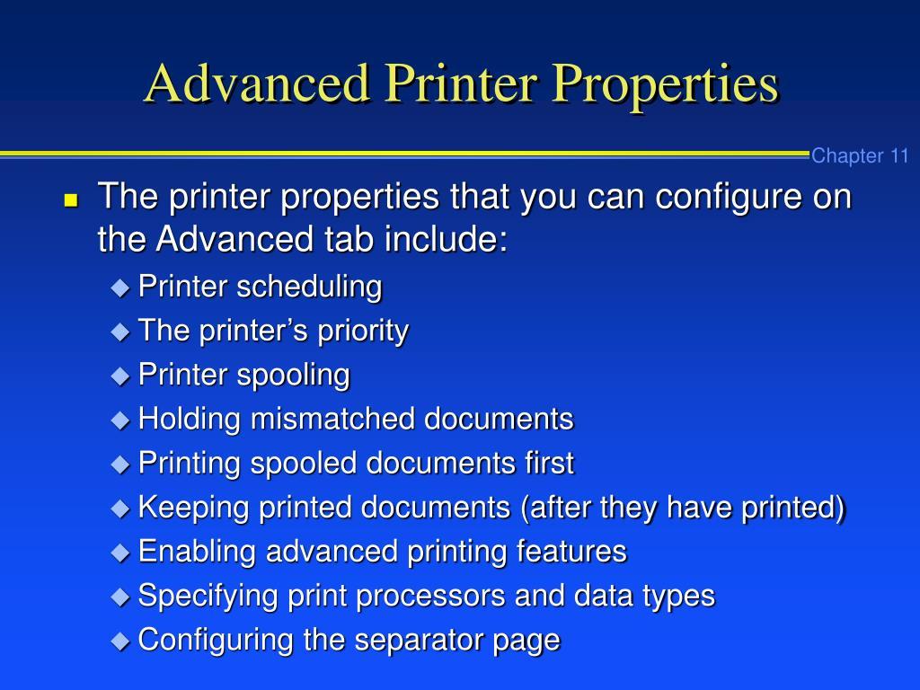Advanced Printer Properties