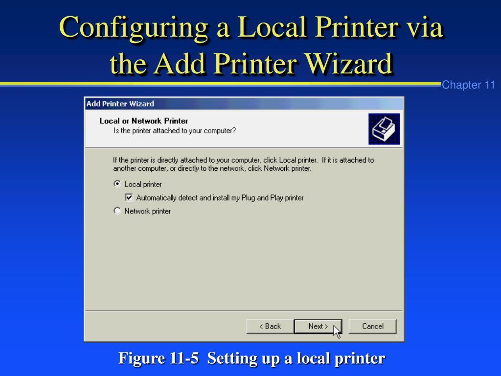 Configuring a Local Printer via the Add Printer Wizard