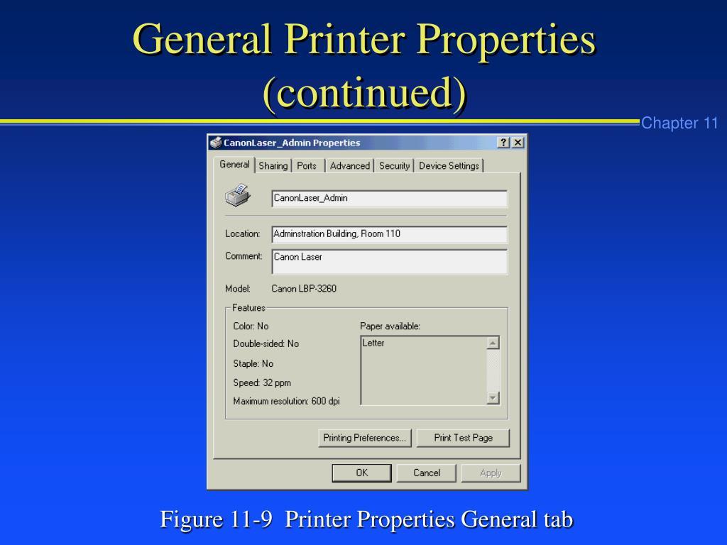 General Printer Properties (continued)