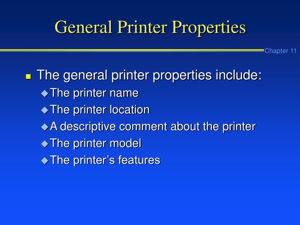General Printer Properties