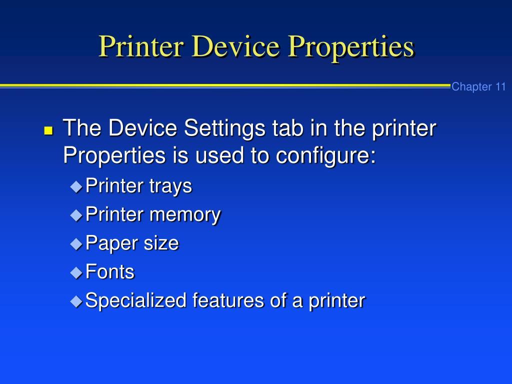 Printer Device Properties