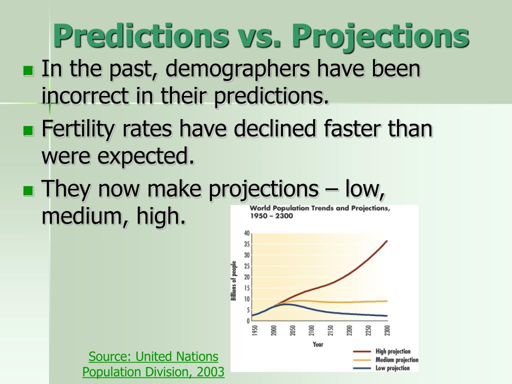 Predictions vs. Projections