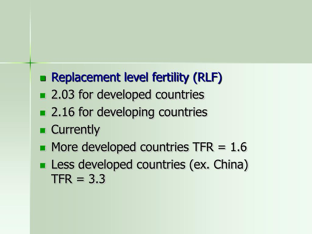 Replacement level fertility (RLF)