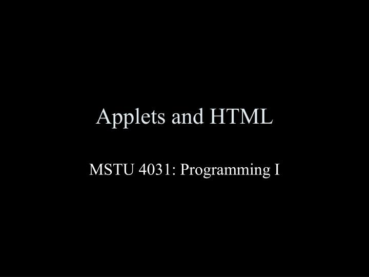 Applets and html