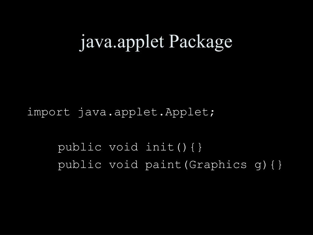 java.applet Package