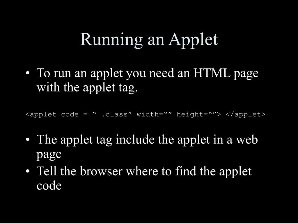 Running an Applet