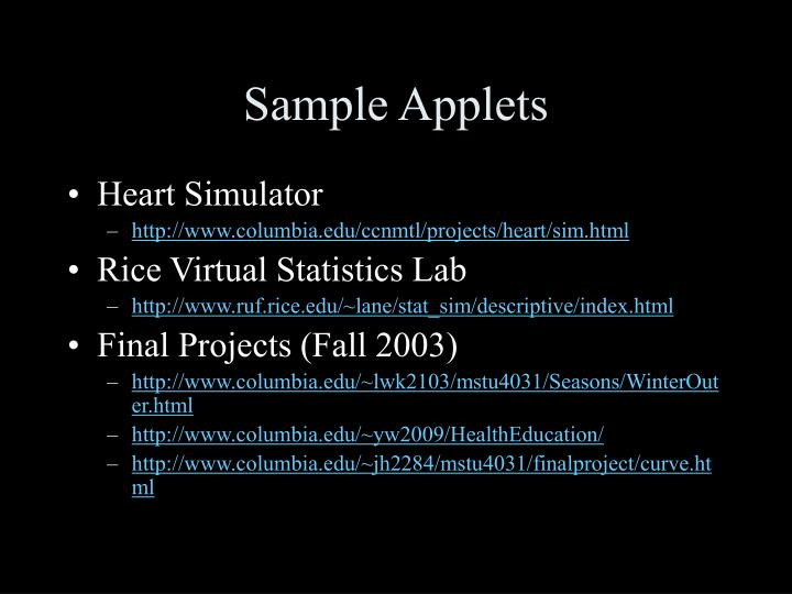Sample applets