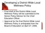 developing a district wide local wellness policy16