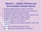 module 1 school policies and environment sample topics