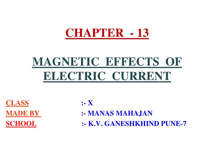 chapter 13 magnetic effects of electric current n.