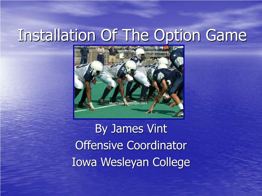 installation of the option game l.