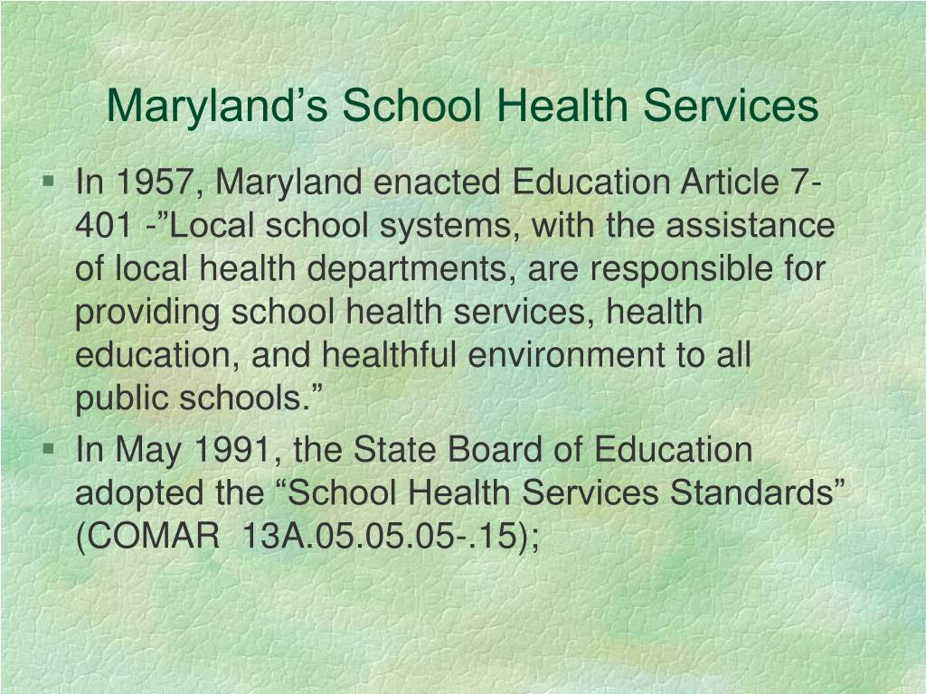 Maryland's School Health Services