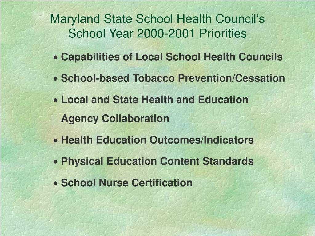 Maryland State School Health Council's