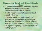 maryland state school health council s specific goals11