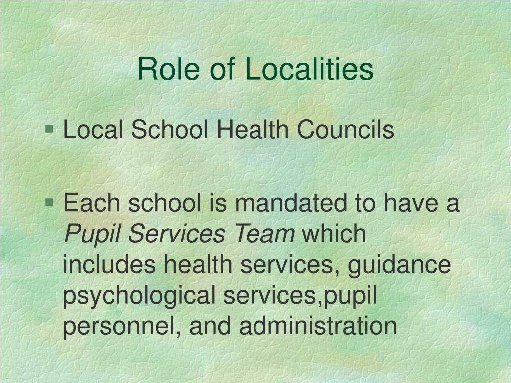 Role of Localities