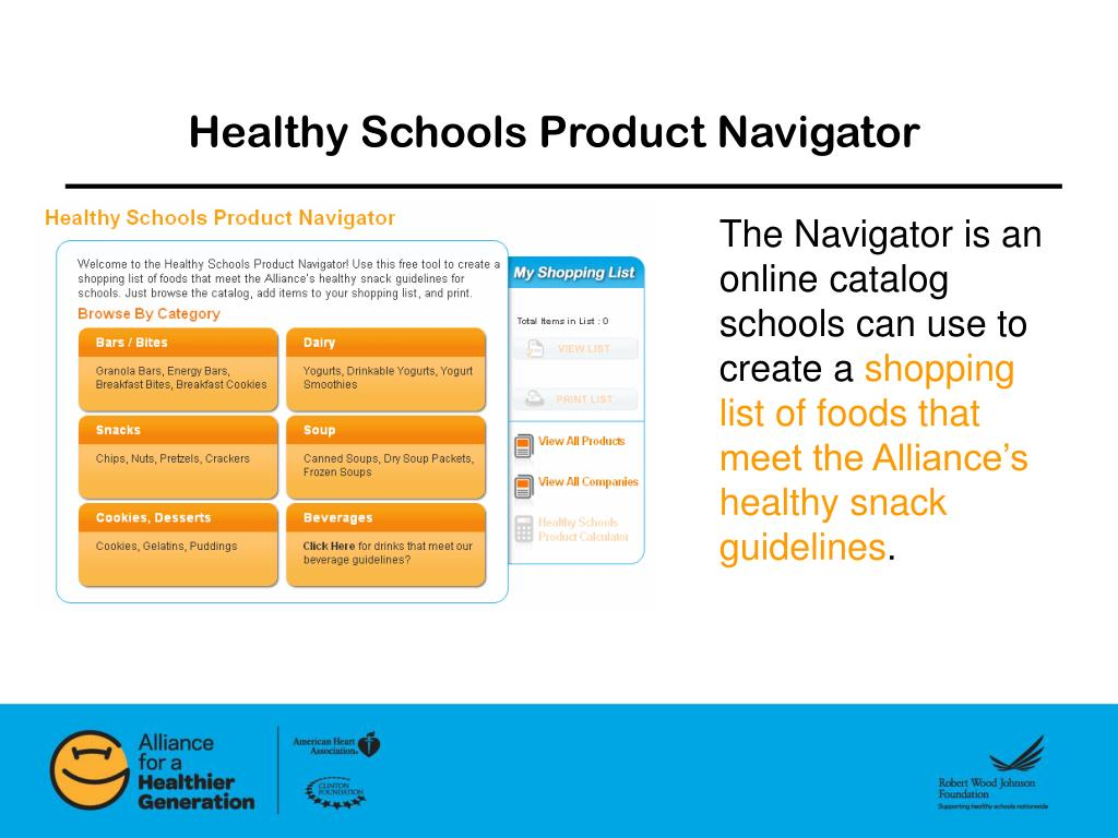 Healthy Schools Product Navigator