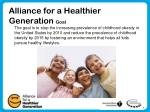 alliance for a healthier generation goal