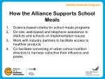 how the alliance supports school meals