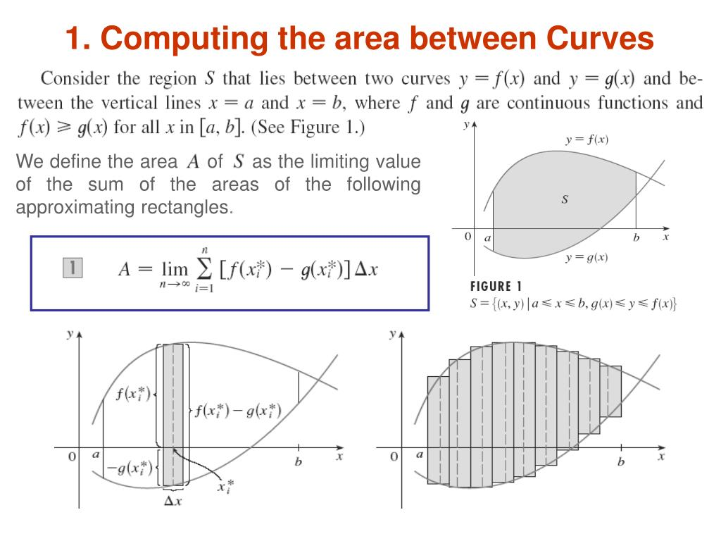 1. Computing the area between Curves