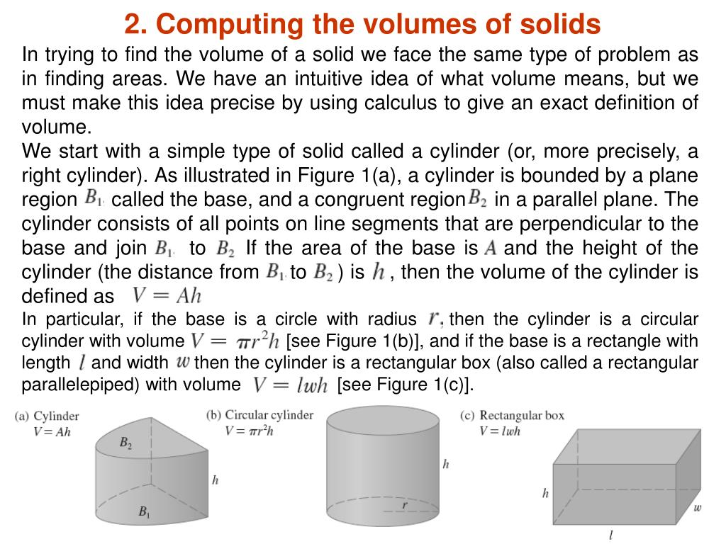 2. Computing the volumes of solids