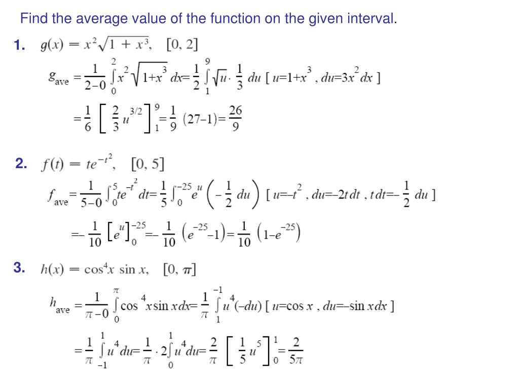 Find the average value of the function on the given interval