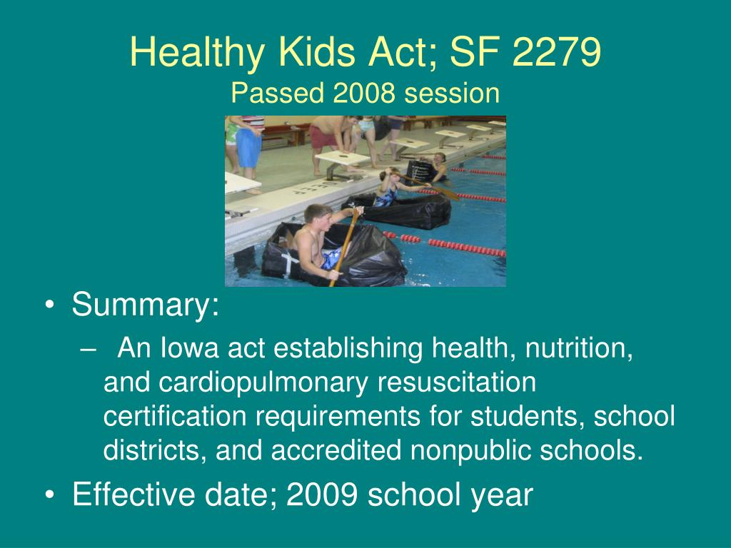 Healthy Kids Act; SF 2279
