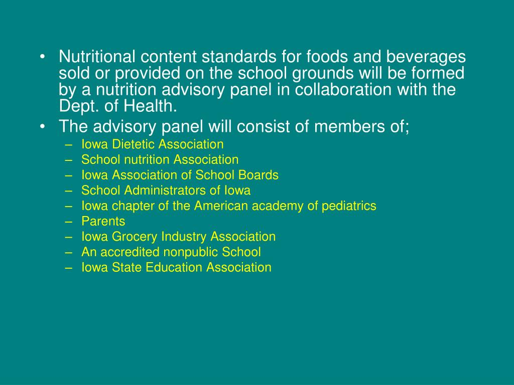 Nutritional content standards for foods and beverages sold or provided on the school grounds will be formed by a nutrition advisory panel in collaboration with the Dept. of Health.