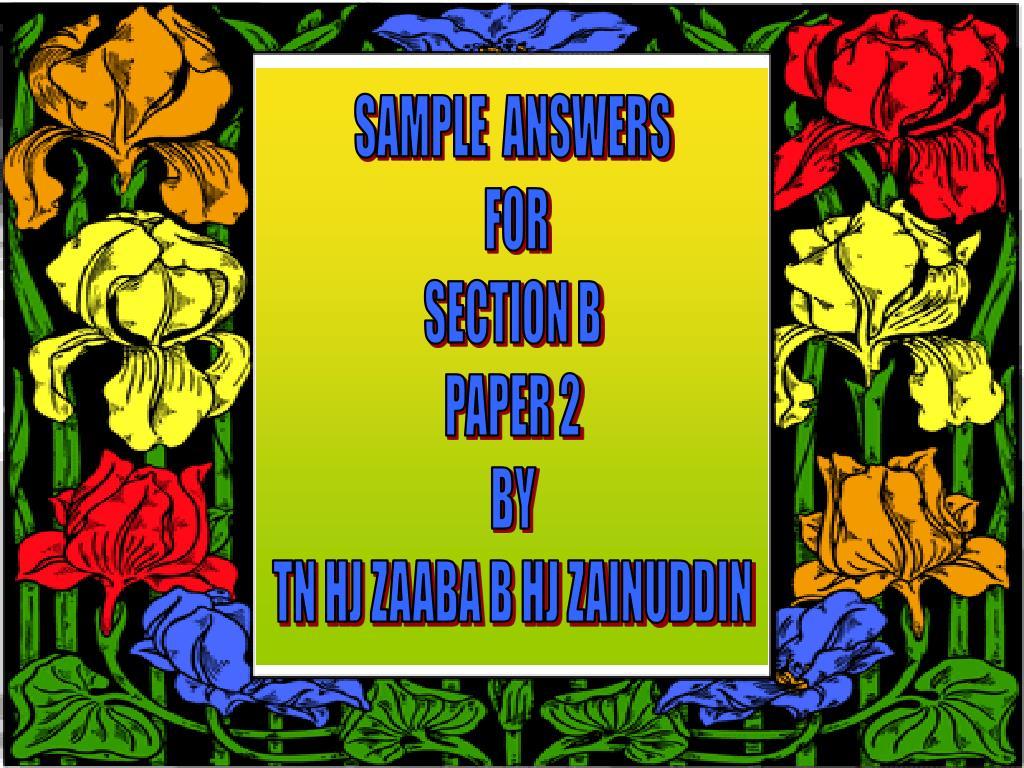 SAMPLE  ANSWERS