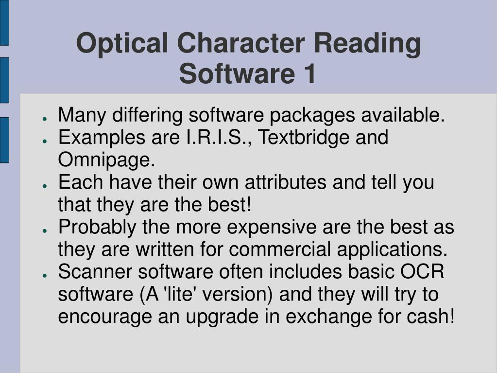 Optical Character Reading Software 1