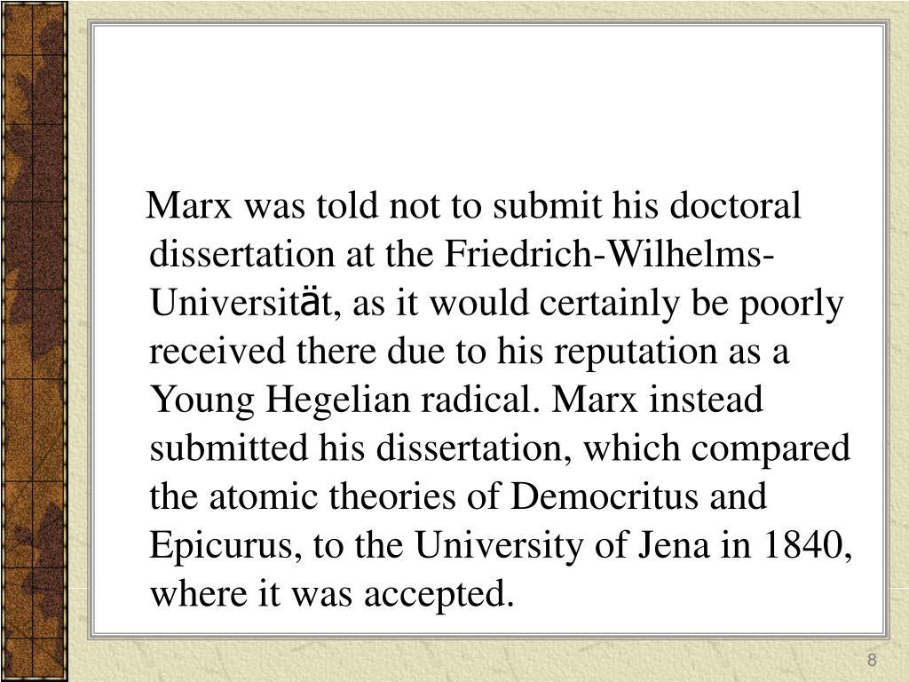 marx dissertation epicurus