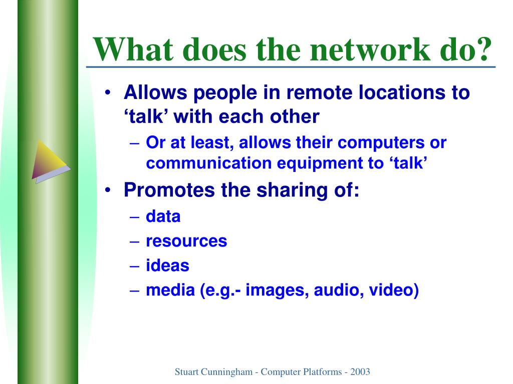 What does the network do?
