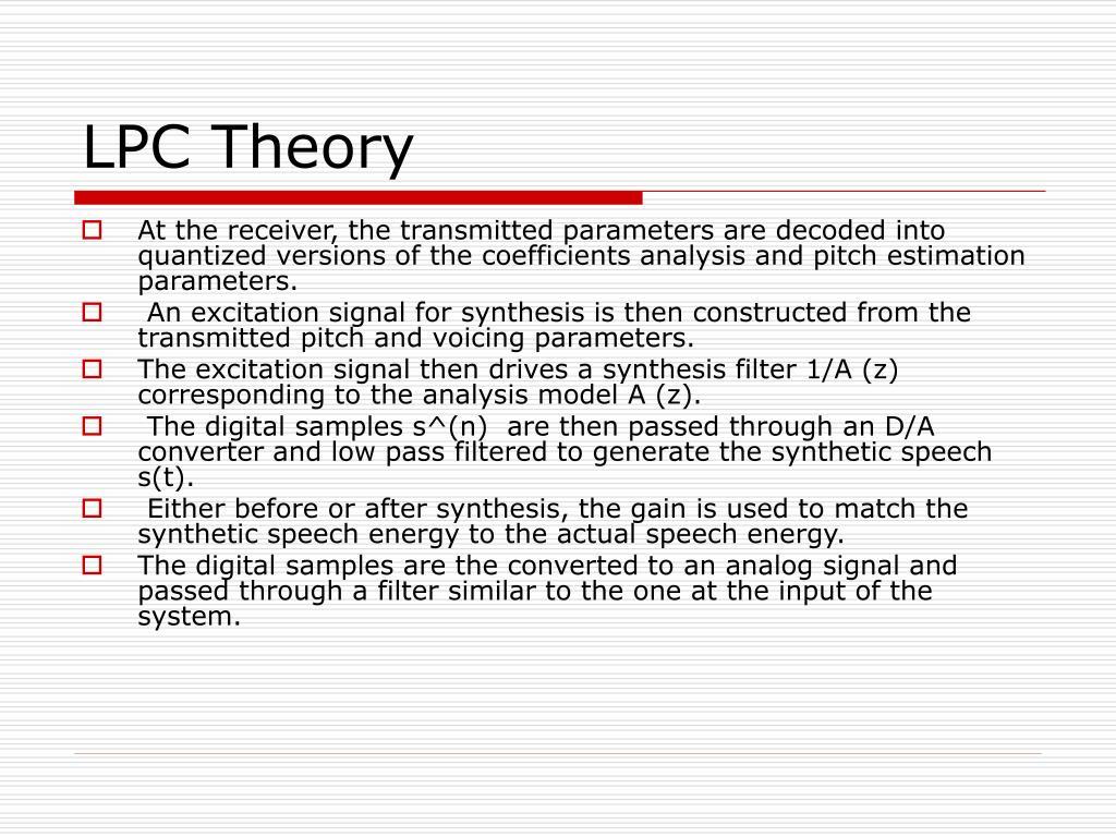 LPC Theory
