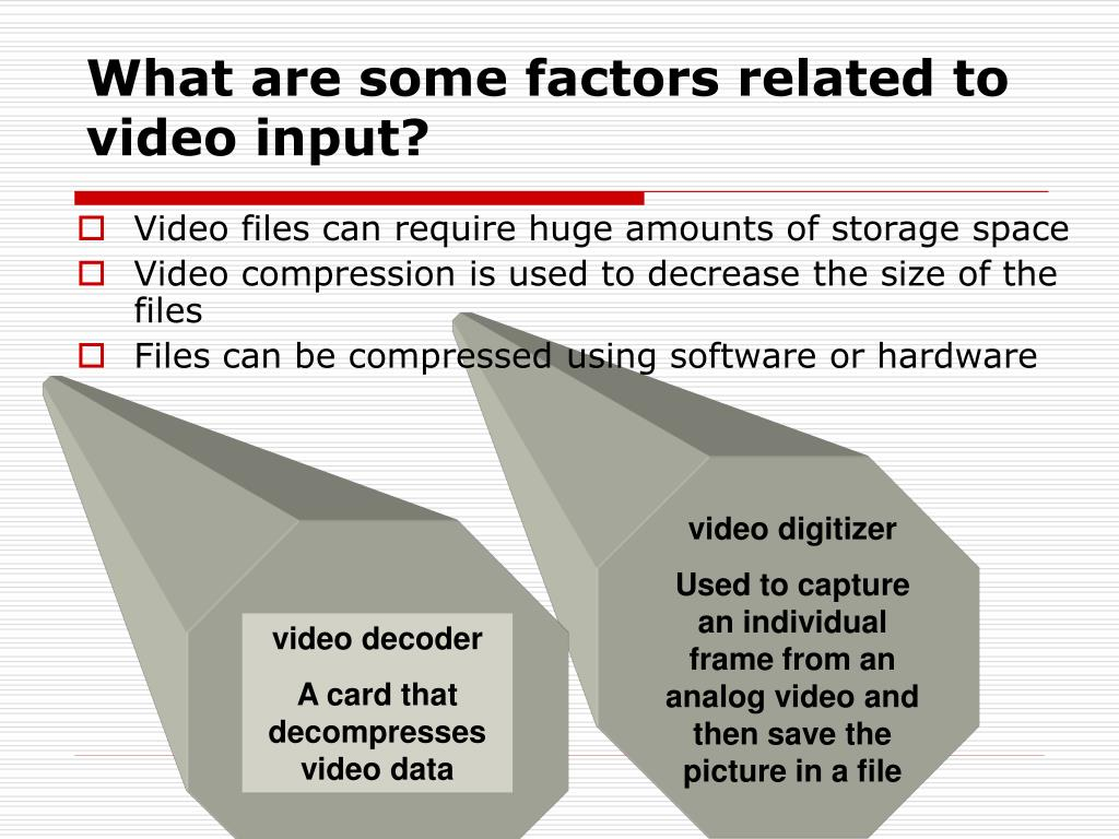 What are some factors related to video input?