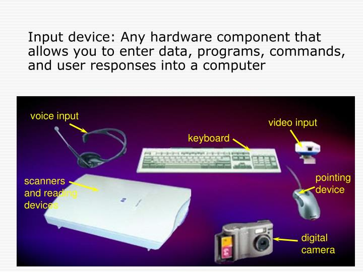 Input device: Any hardware component that allows you to enter data, programs, commands, and user res...