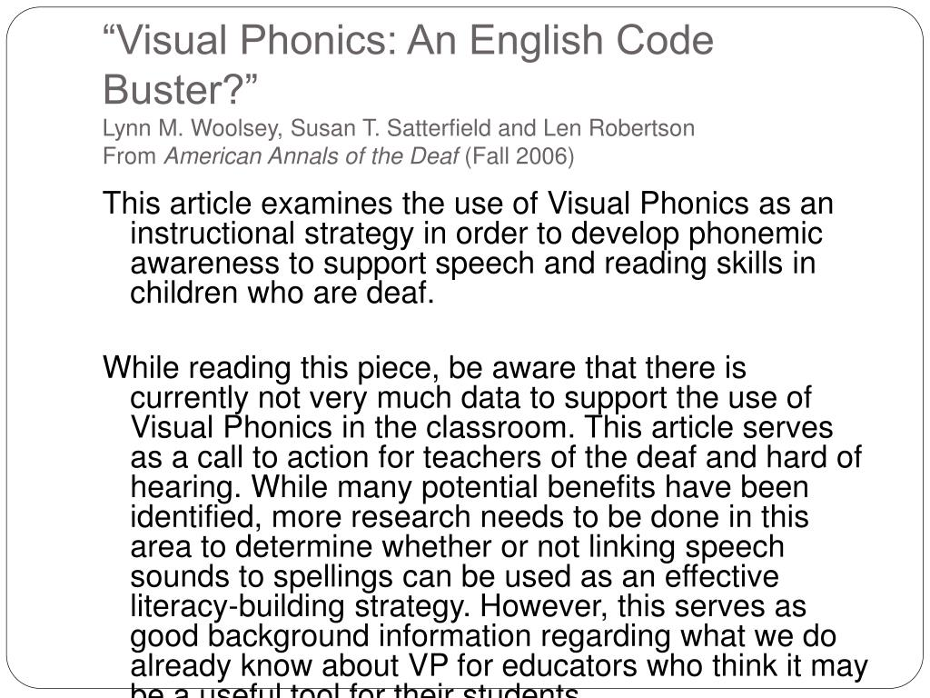 """Visual Phonics: An English Code Buster?"""