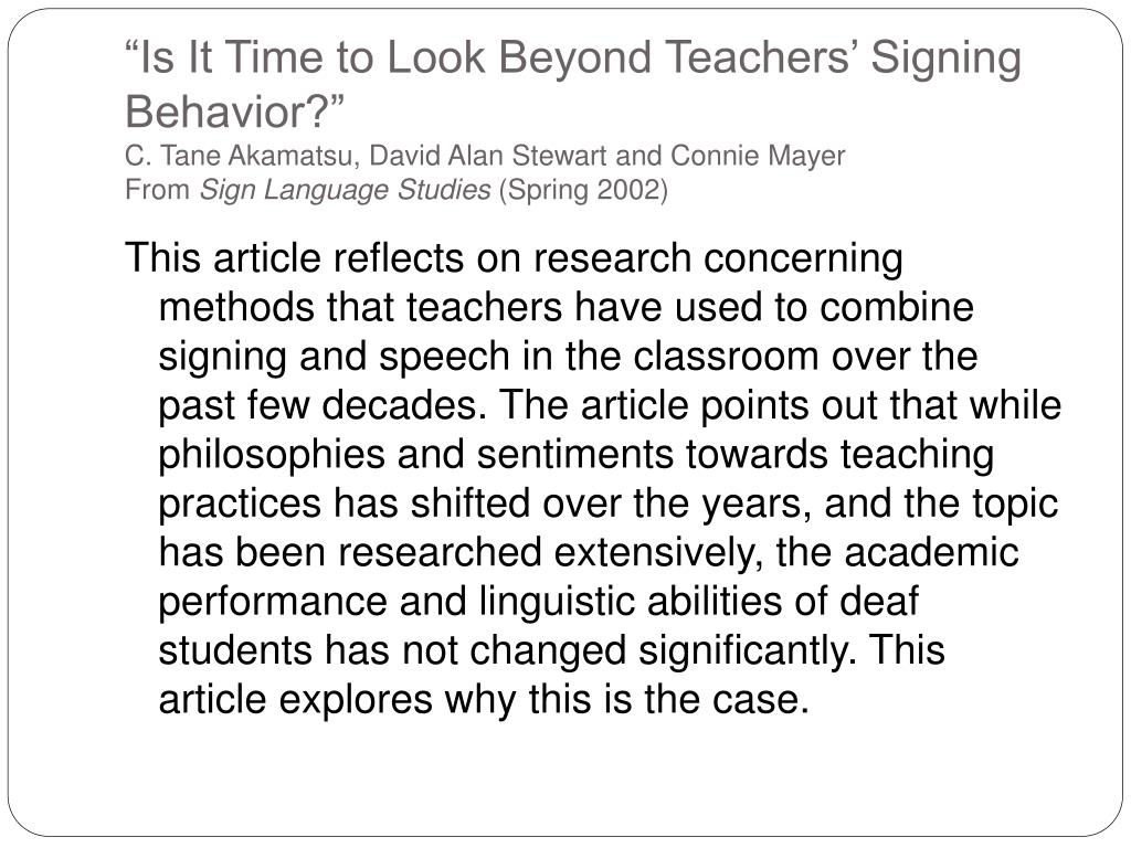 """Is It Time to Look Beyond Teachers' Signing Behavior?"""