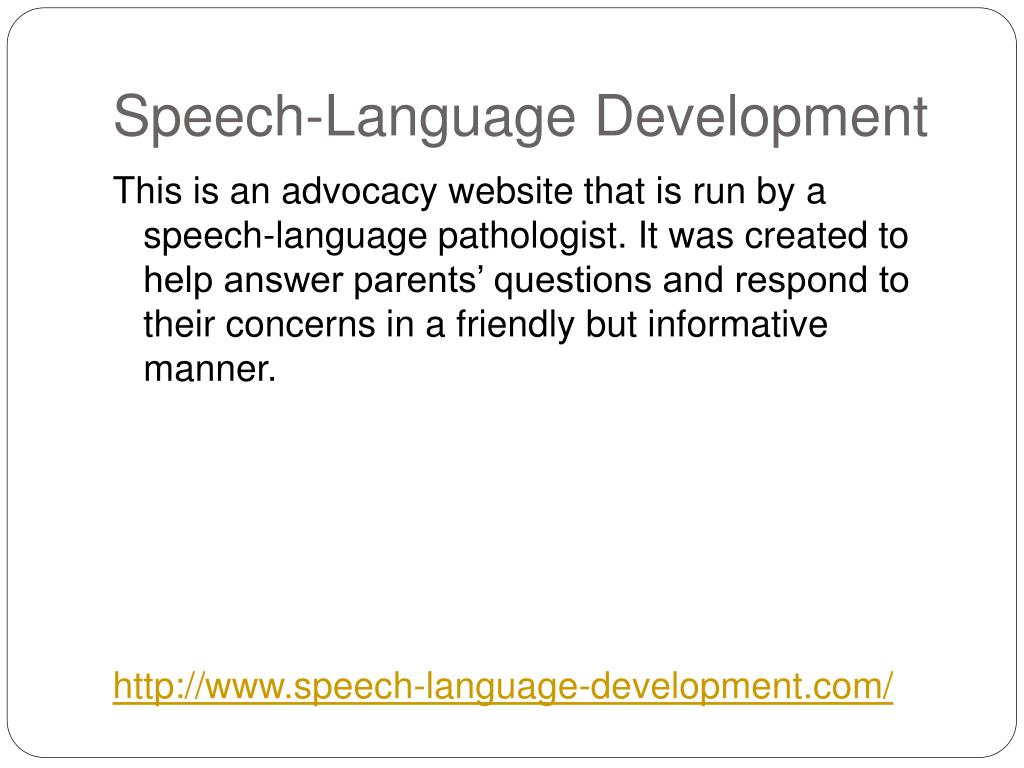 Speech-Language Development