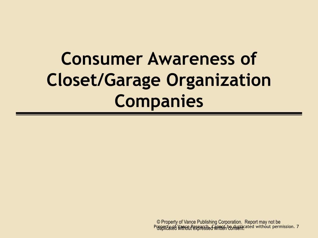 Consumer Awareness of Closet/Garage Organization Companies