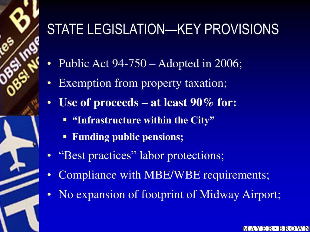 STATE LEGISLATION—KEY PROVISIONS