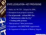 state legislation key provisions