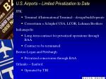 u s airports limited privatization to date