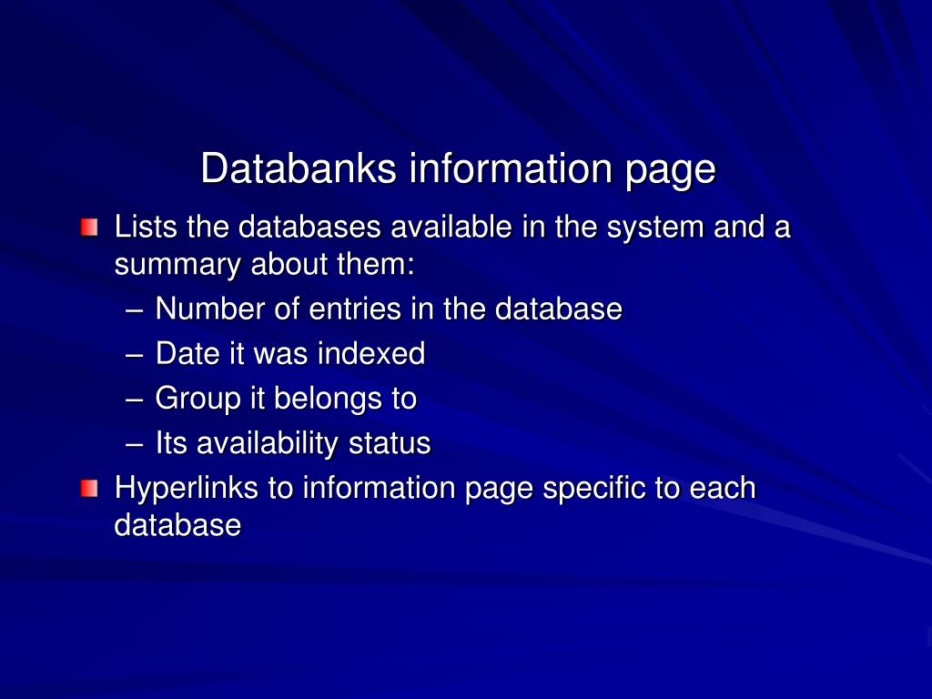 Databanks information page