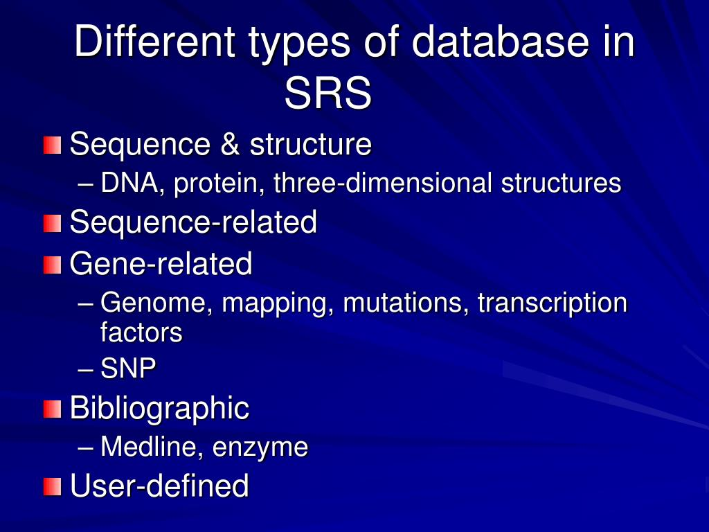 Different types of database in SRS
